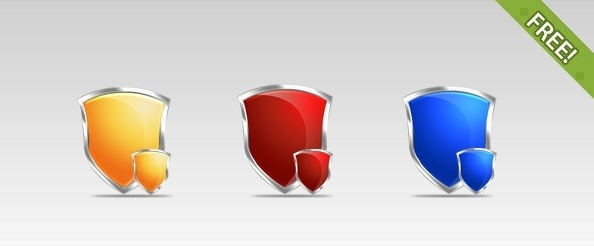3 Free Shield PSD Icons