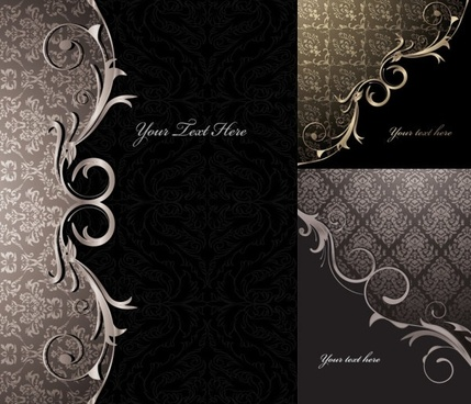 3 gorgeous european classical pattern vector