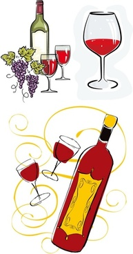 3 handpainted bottles and glasses style vector
