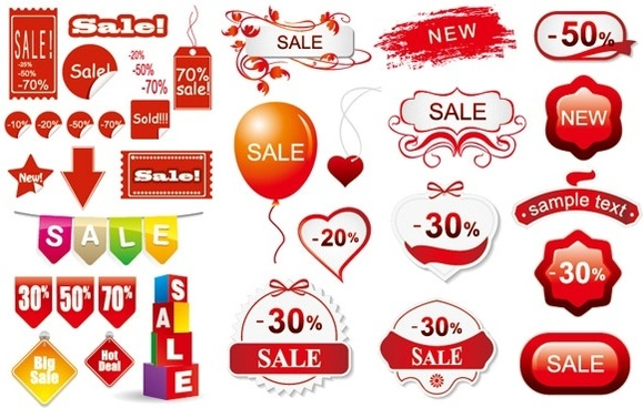 3 sets of discount sales decorative icon vector