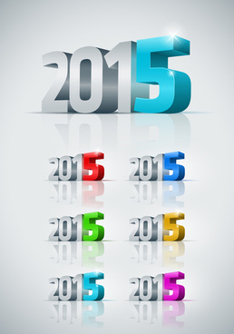 3d15 new year text vector