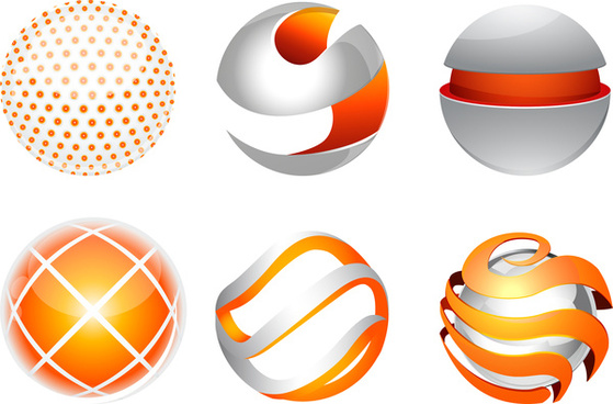 3d abstract globe orb collection
