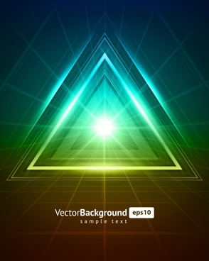 decorative background modern vivid shining triangles light effect
