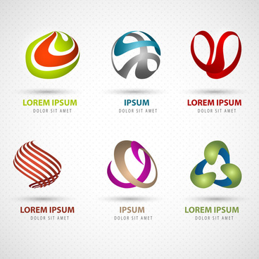 3d abstract logo design elements collection