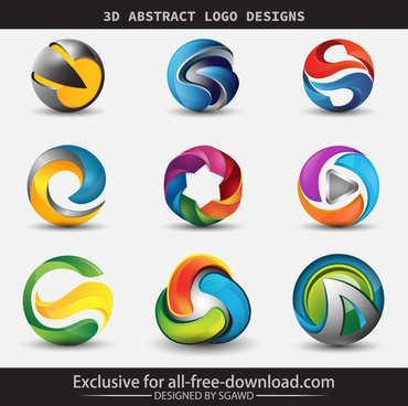 3d abstract logo designs