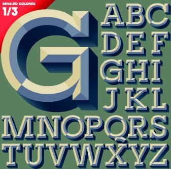 3d alphabet vector set