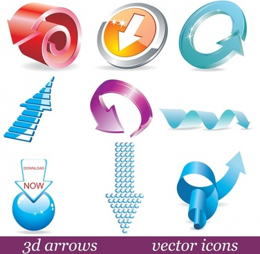 decorative arrow icons modern shiny colored 3d shapes
