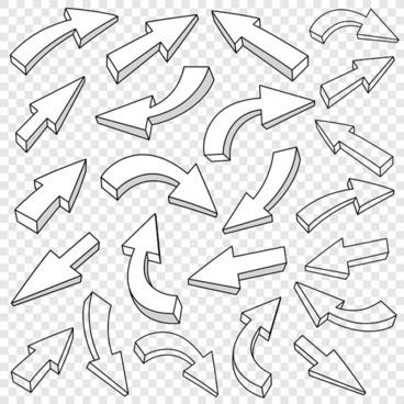 3d arrows outline vector