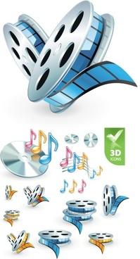 3d audio video icon vector