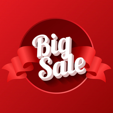 3d big sale sign with ribbon