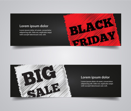 3d black friday banner information on two stickers