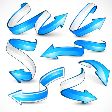 3d blue arrows vector