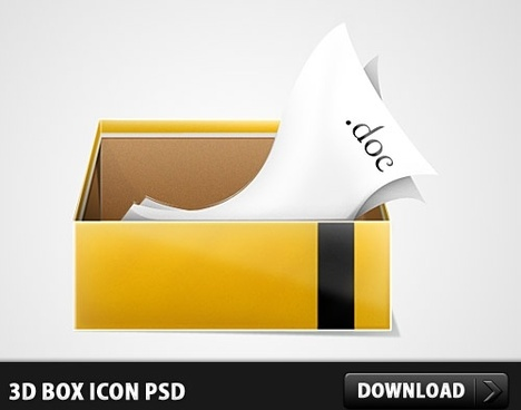 3D Box Icon PSD