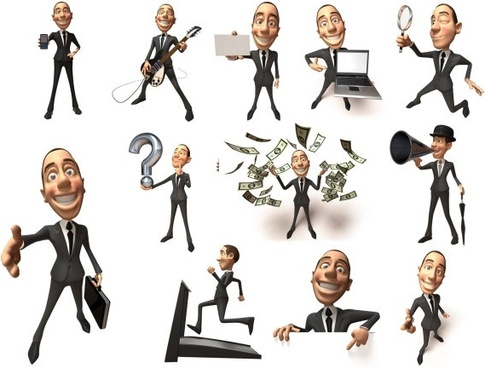 3d business figures highdefinition picture