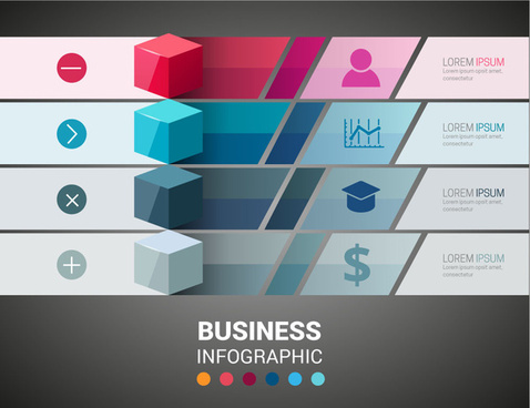 3d business infographic illustration with cubes and tabs