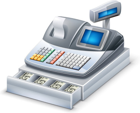 3d cash register elements vector