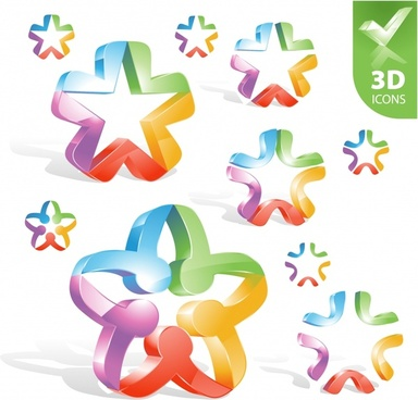 decorative stars icons modern colorful shiny 3d design
