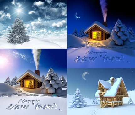 3d christmas snow hd picture