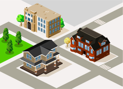 3d city building model vector set