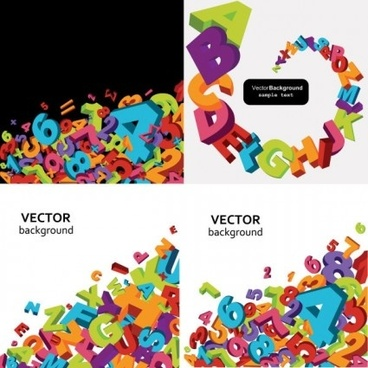 3d colored letters with numbers vector background