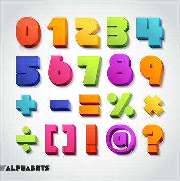 3d colored numbers and symbols vector