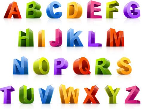 3d colorful alphabets design vector