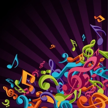 3D Colorful Music Vector Background