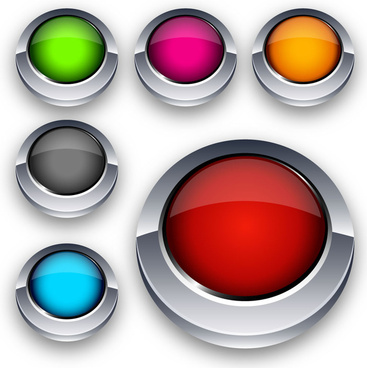 3d colorful round buttons icons