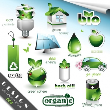 ecology design elements modern shiny green symbols