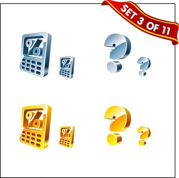business design elements calculator question icons shiny 3d