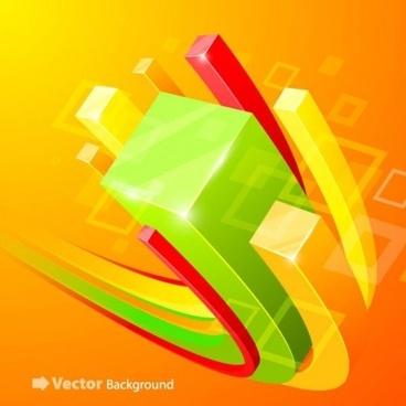 3d cube background art vector