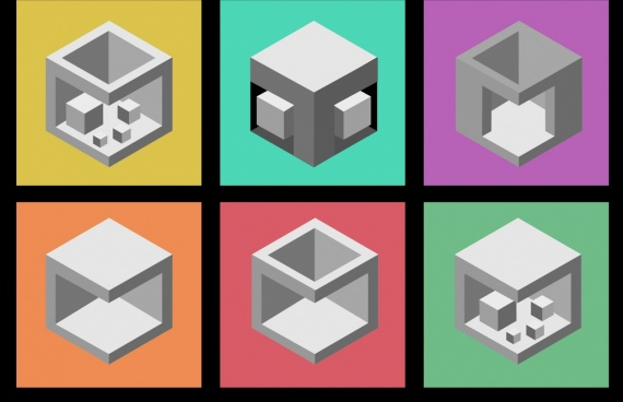 3d cube icons sketch various grey isolation