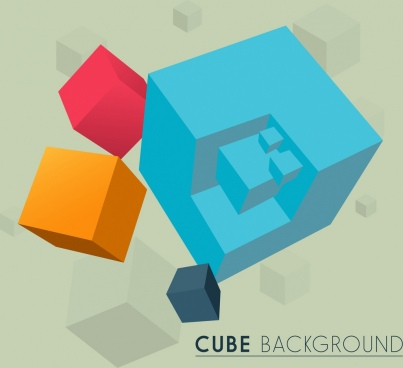 3d cubic background colorful icons decor