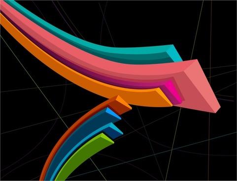 3d design vector colored lines in dark background