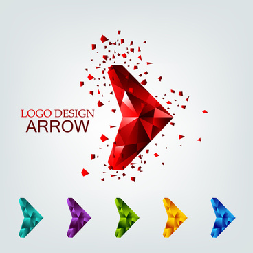 3d geometric arrow for logo design