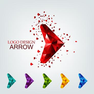 3d geometric arrow for logo design