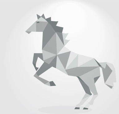 3d geometric shapes horse creative vector