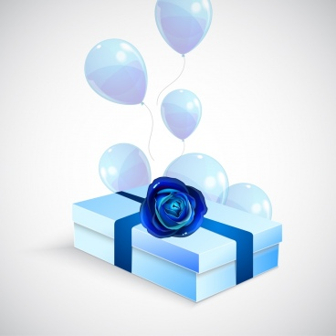 3d gift box background blue design shiny balloon ornament