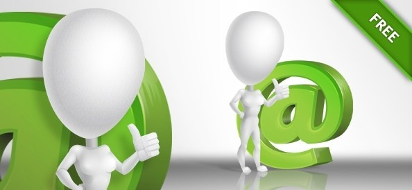 3d girl with a green email symbol