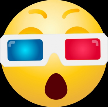 3d glasses emoticon clipart
