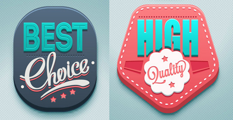 3d high quality labels vector