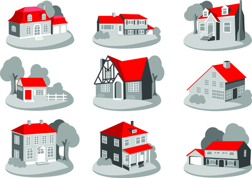 3d house template vector