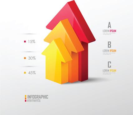 3d infographic modern template vector