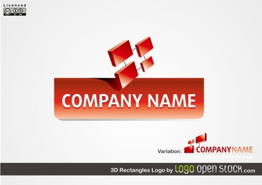 corporate logo design 3d red geometric style