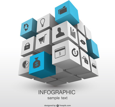 3d magic cube with infographics vector