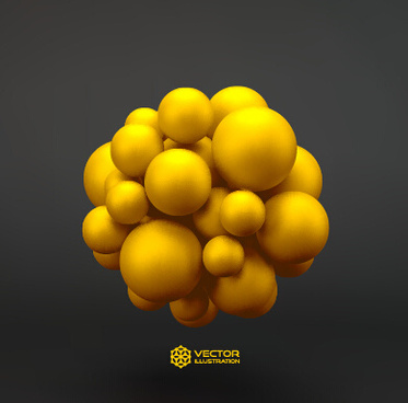 3d molecules spheres illustration vector background