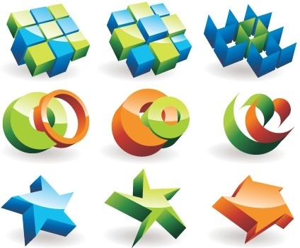 logotype collection 3d colorful shapes design