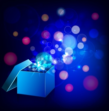 3d open gift box background sparkling bokeh style