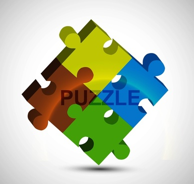3d puzzle colorful shiny vector design