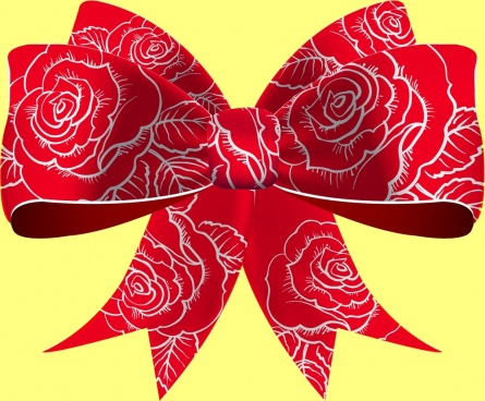 3d red bow icon flowers pattern decoration